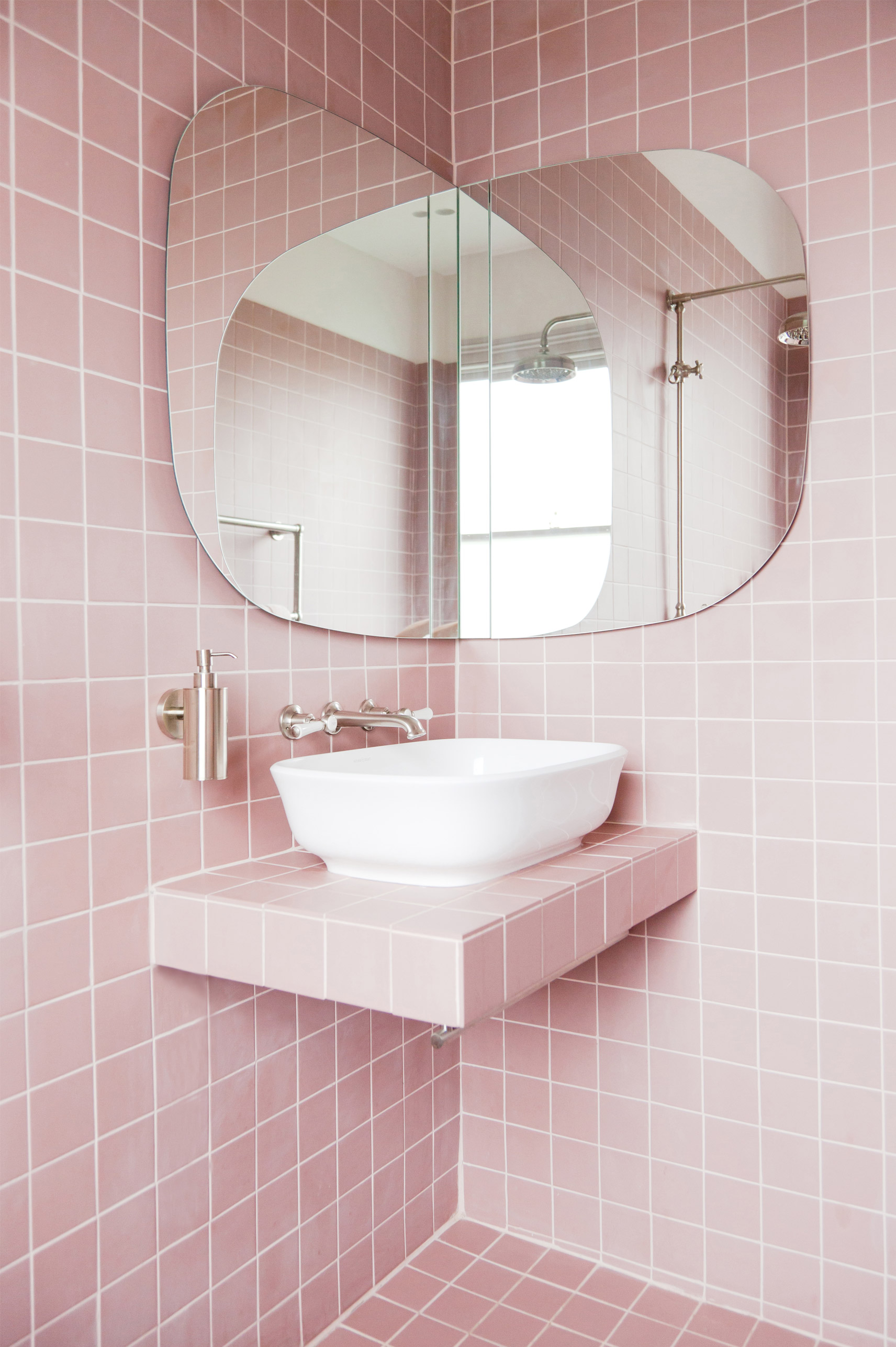 2lg studio our dream pink bathroom design \u2013 revealedbespoke fitted mirror design by 2lg hides a cupboard and shaver point